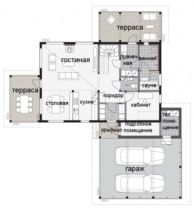 Компактный двухэтажный дом под односкатной крышей Т011