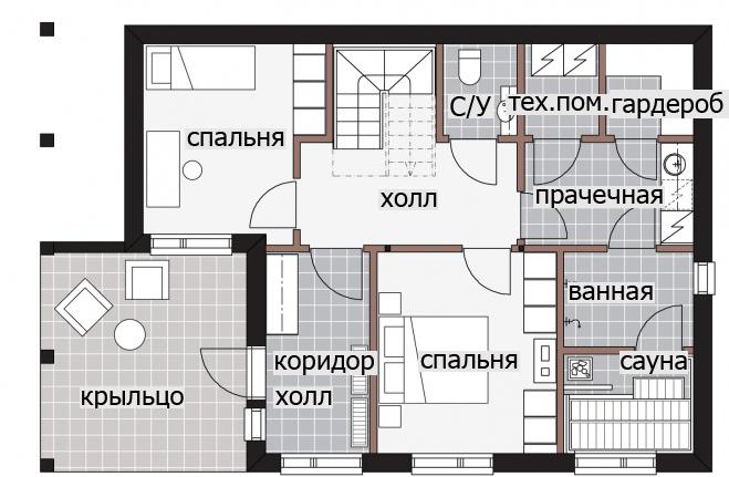 Двухэтажный дом с крытой террасой-балконом Т031