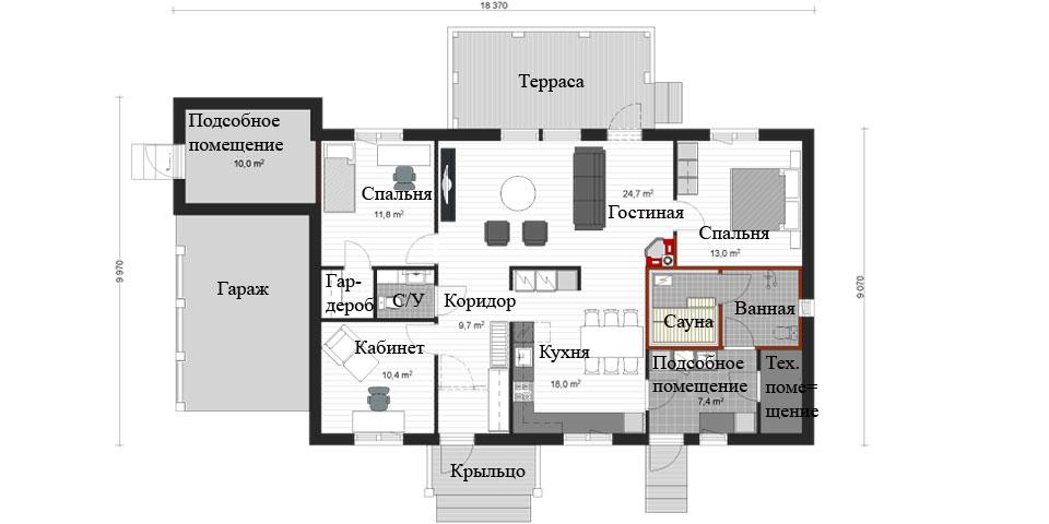 Одноэтажный дом с гаражом и просторной террасой BX145