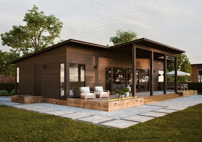 Одноэтажный дом дом под односкатной крышей с крытой террасой Т053