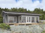 Застекленный финский дом под двускатной крышей  Т144