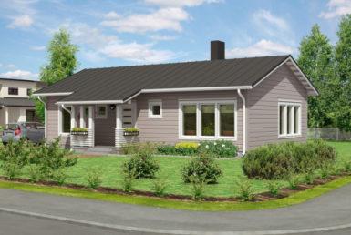 Одноэтажный финский дом с широкими окнами Т082