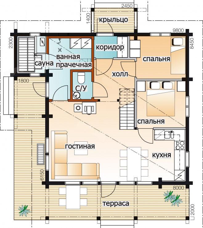 . Дом с мансардой и крытой террасой Т099