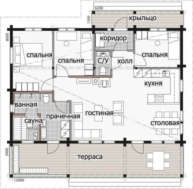 Одноэтажный дом в деревенском стиле Т105