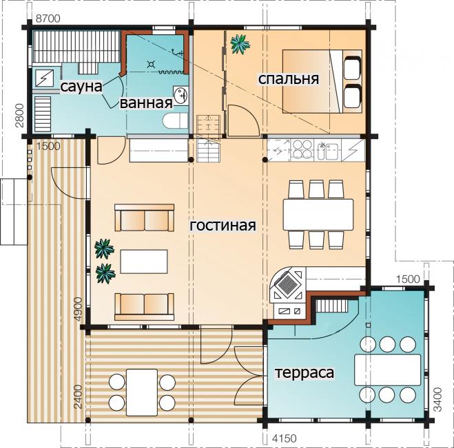 Мансардный дом с высокими потолками Т134