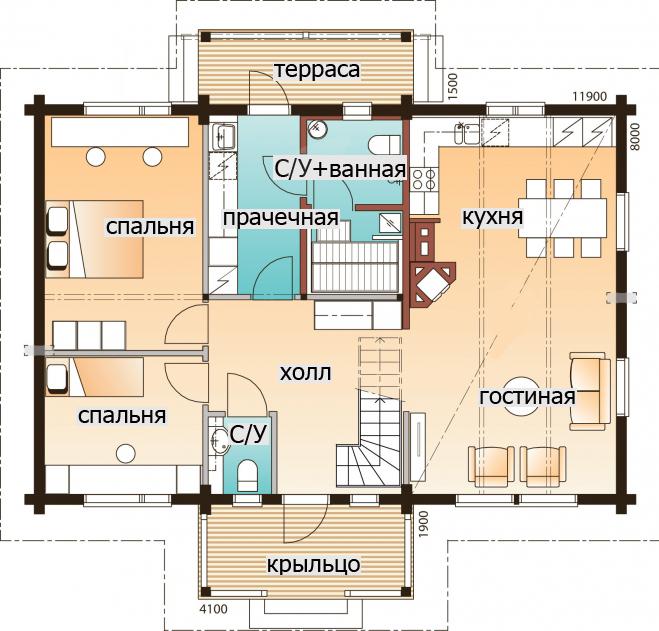 Одноэтажный дом с козырьком над крыльцом Т077
