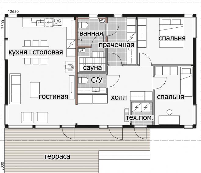 Одноэтажный дом с террасой под общей крышей с застекленным фасадом Т080