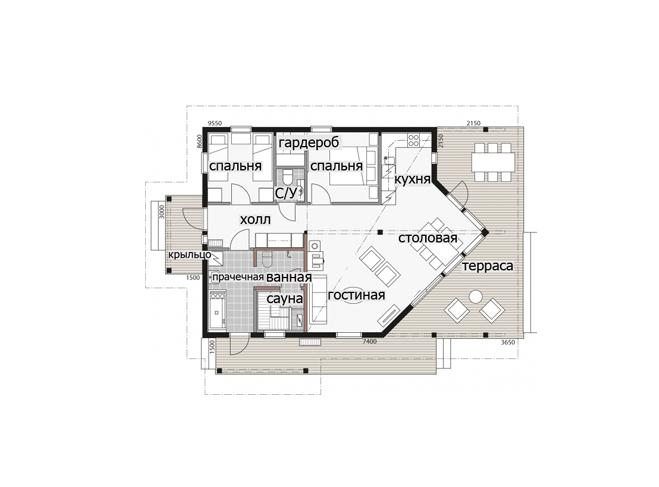 Дом с застекленным фронтоном Т091