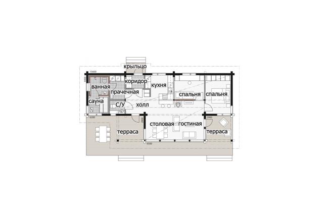 Компактный дом с застекленной столовой зоной Т092