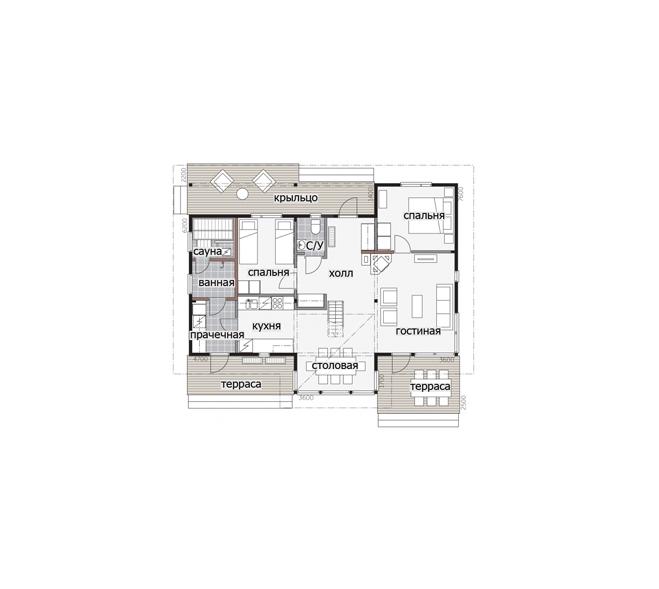 Финский дом с застекленным мезонином Т083.
