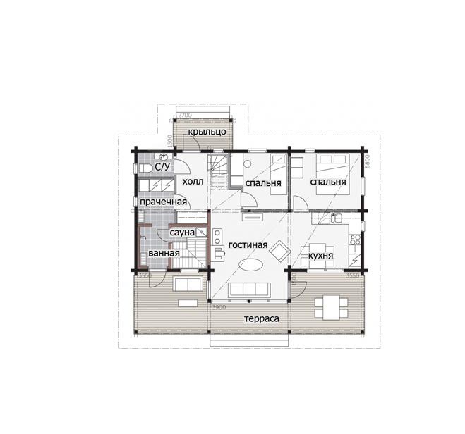 Дом с монументальным фасадом Т107