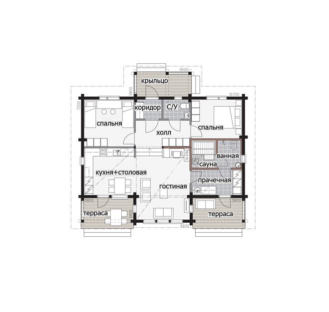 Дом с застекленной гостиной Т084