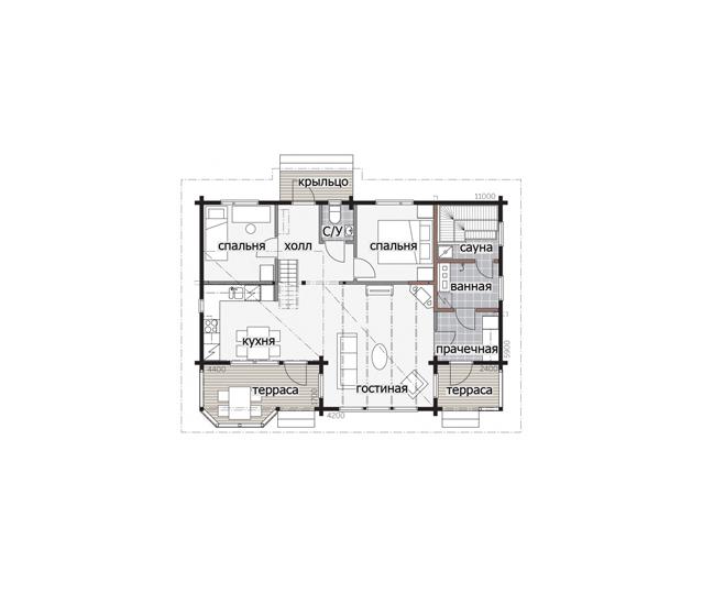 Одноэтажный дом с застекленным фасадом Т129