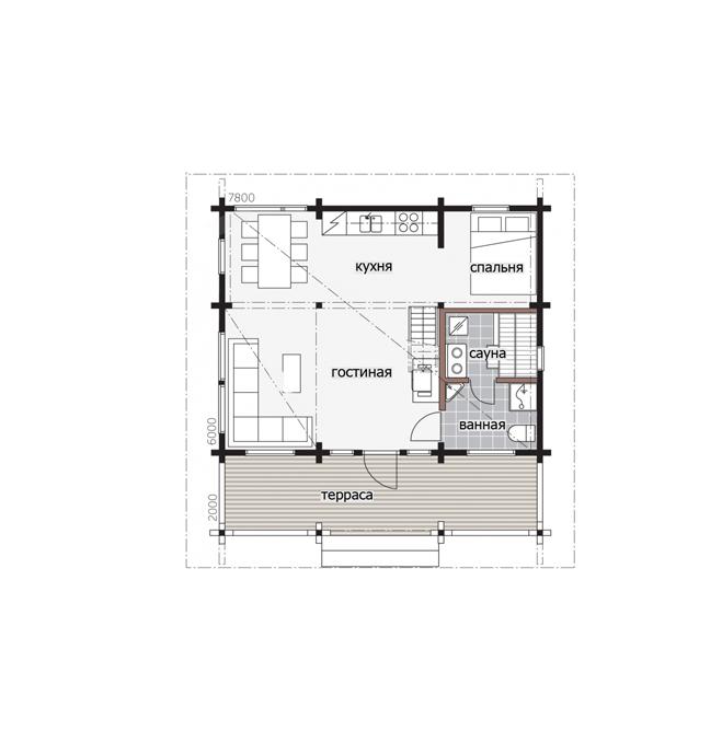 Мансардный дом с балконом Т148