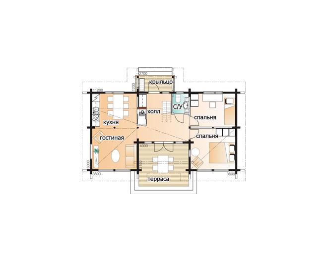 Мансардный дом под многоскатной крышей Т151