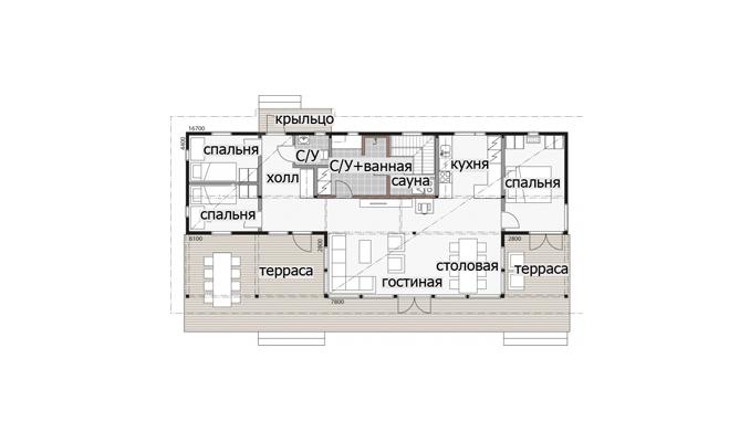 Одноэтажный дом с двускатной крышей и застекленной гостиной Т081