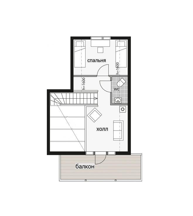 Двухэтажный дом с крытым балконом Т087