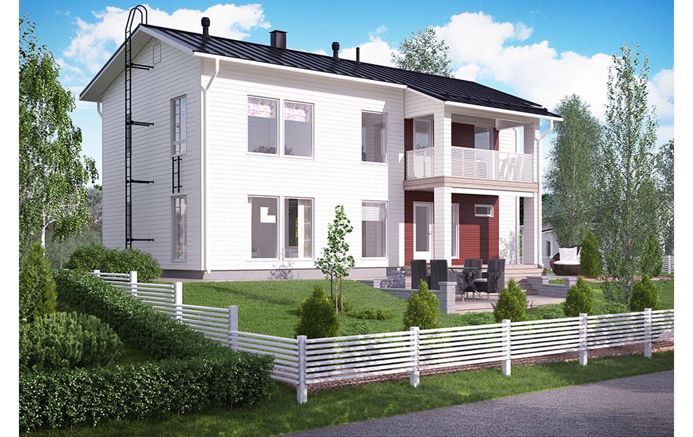 Двухэтажный дом с балконом над крыльцом кд-13 к-дом.