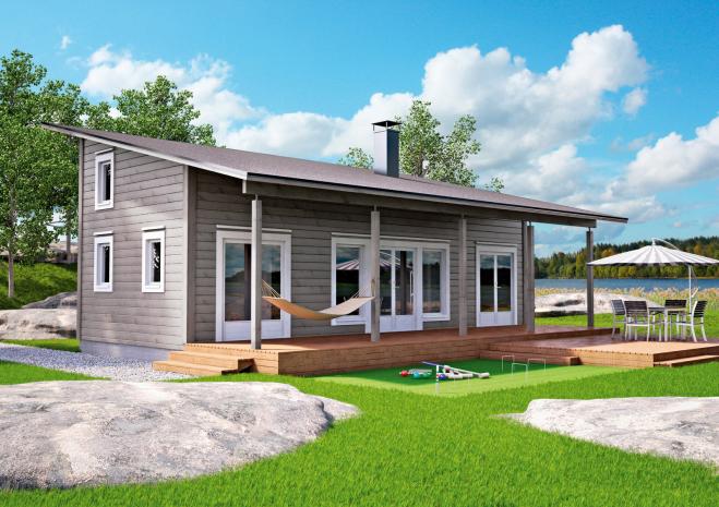Мансардный дом односкатной крышей