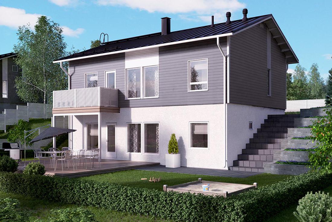 Двухэтажный дом с открытым балконом кд-57 к-дом.