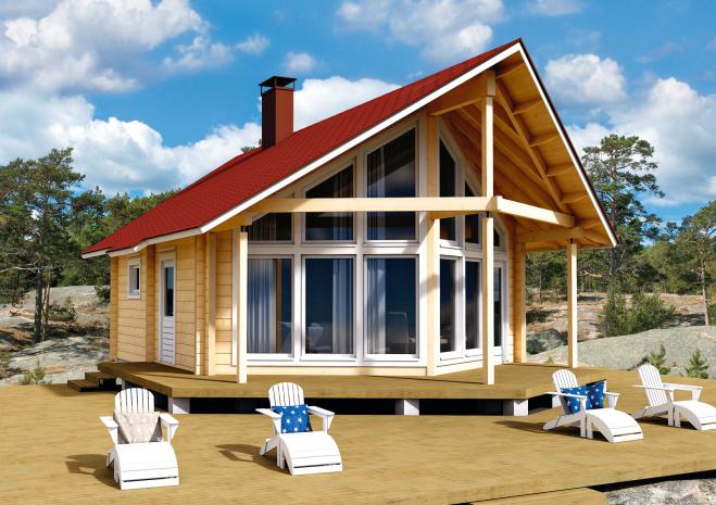 Садовый домик с застекленным фасадом Т165