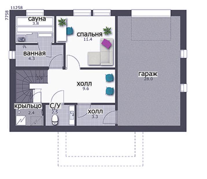 Трехэтажный дом с цокольным этажом КД-15