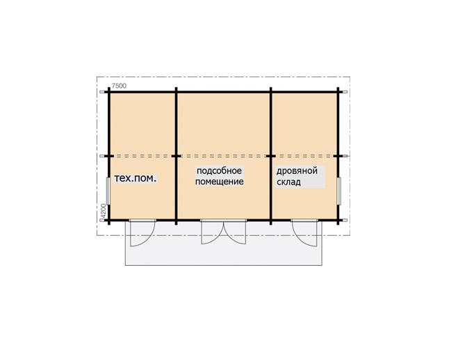 Хозблок под двухскатной крышей Т179
