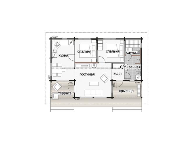 Дом с многоскатной крышей Т155
