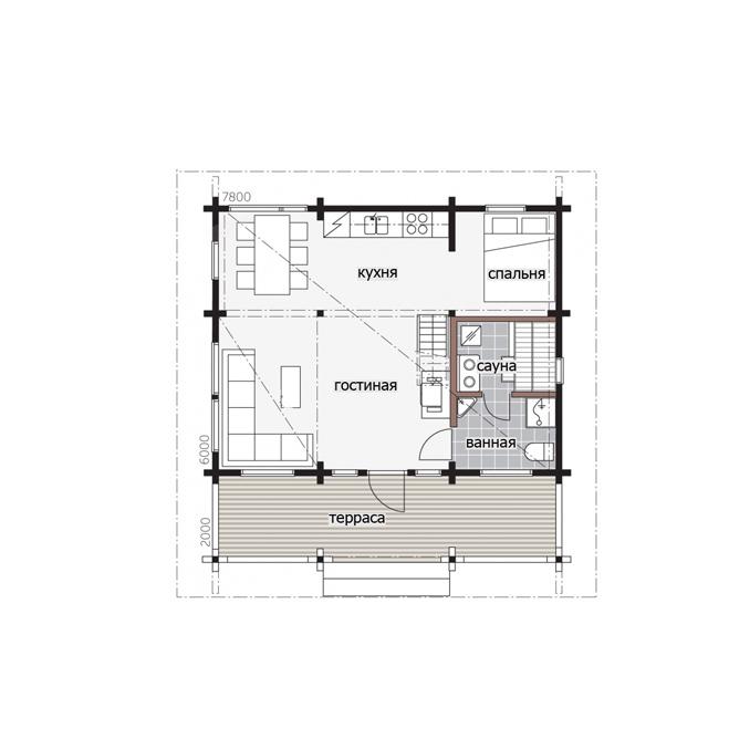 Садоый финский дом под двухскатной крышей Т166
