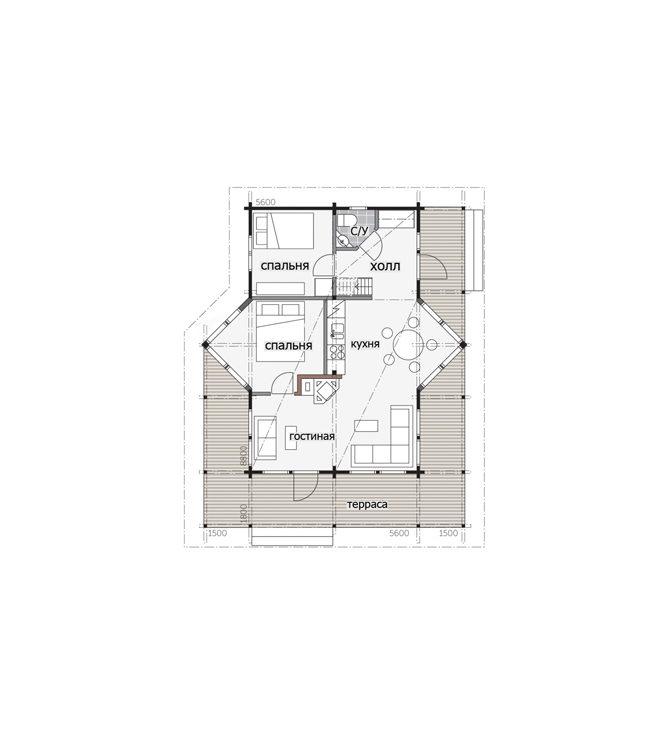 Дом с террасой по периметру Т158