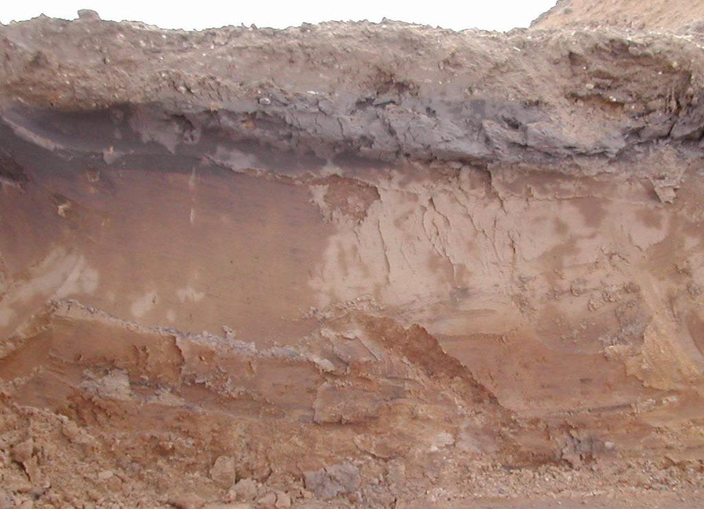 Пласты глинистого грунта в разрезе