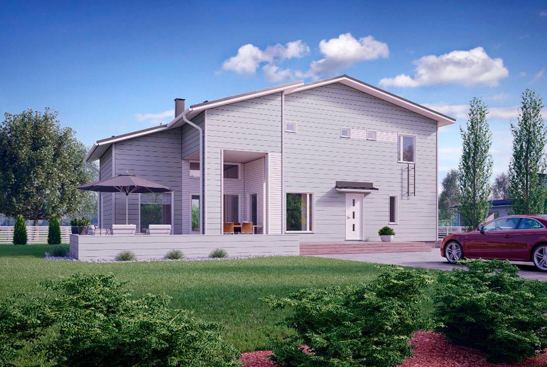 Двухэтажный дом с вытянутой террасой КД-72