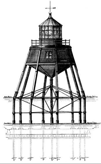 Старинный маяк на винтовых сваях