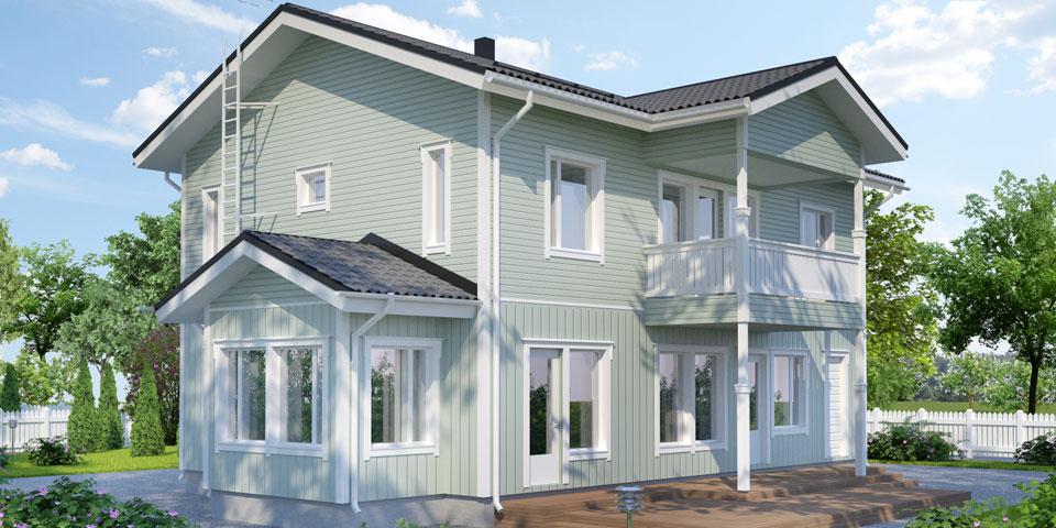 Двухэтажный дом с балконом и просторной терассой АС221