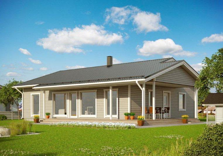 Финский одноэтажный дом с двускатной крышей АЕ113