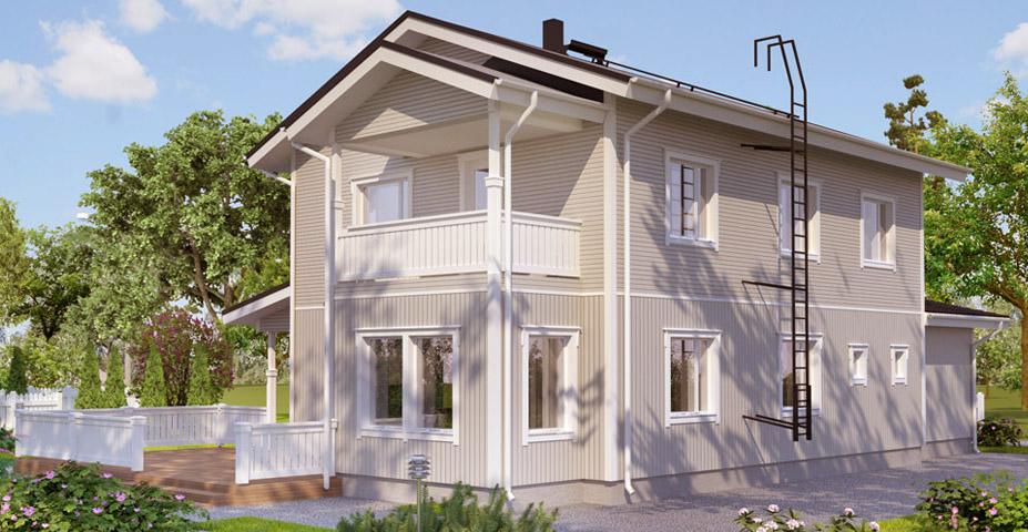 Двухэтажный дом с балконом и терассой АС212