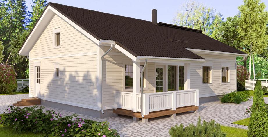 Одноэтажный дом с двускатной крышей и навесом BX149