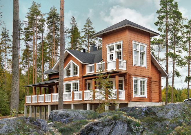 Двухэтажный дом с обширной террасой и лоджией-башней Т007