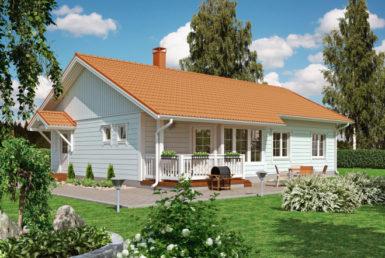 Одноэтажный финский дом с двухскатной крышей Т050
