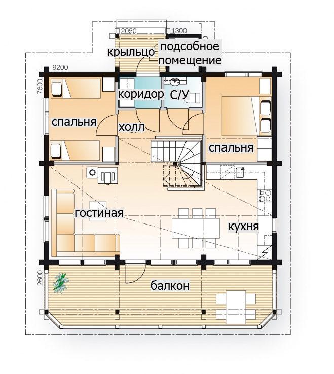Двухуровневый дом с жилой мансардой Т054