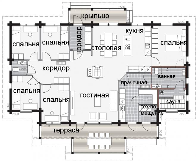 Одноэтажный финский дом с террасой под навесом Т013