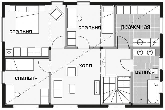 Финский двухэтажный дом с односкатной крышей Т012