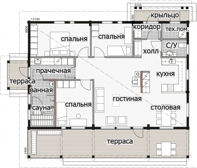 Одноэтажный дом с двухскатной крышей и застекленным фасадом Т059