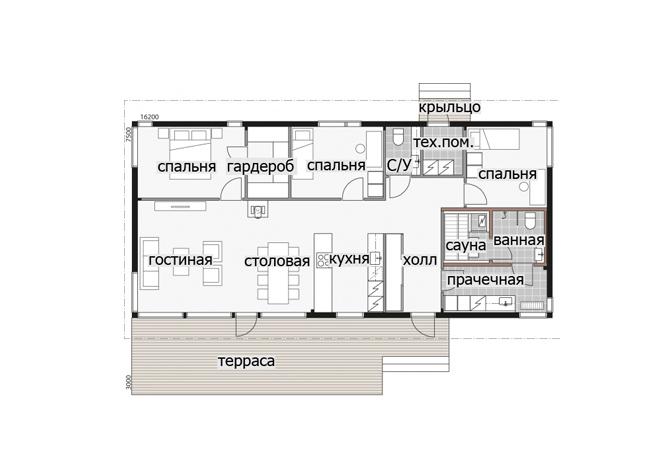 Одноэтажный дом с односкатной крышей и застекленным фасадом Т052