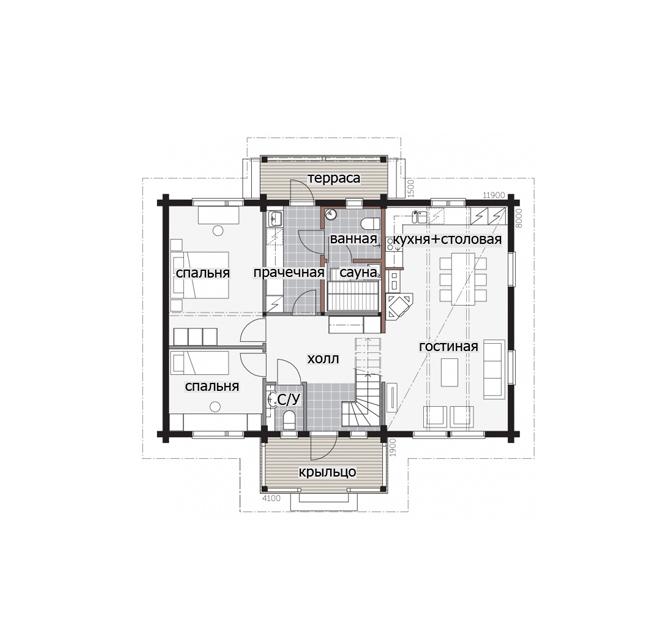 Двухэтажный финский дом с крыльцом под крышей Т047