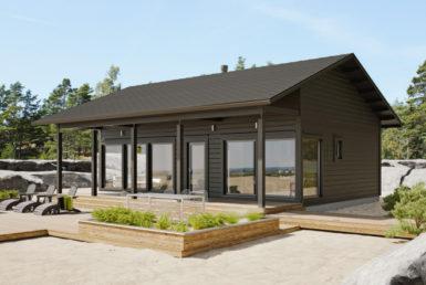 Одноэтажный дом с застекленным фасадом Т152