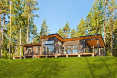 Одноэтажный дом с парусной крышей Т094
