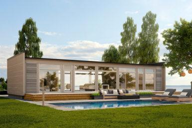 Одноэтажный дом с застекленным фасадом Т079