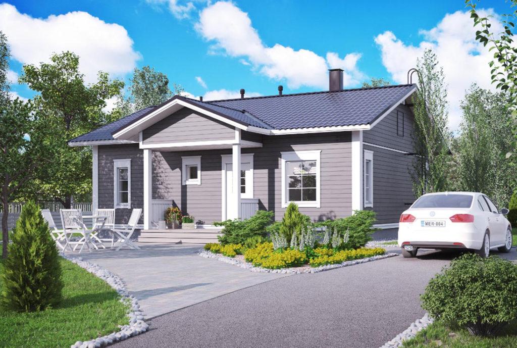 Одноэтажные дома с двускатными крышами фото